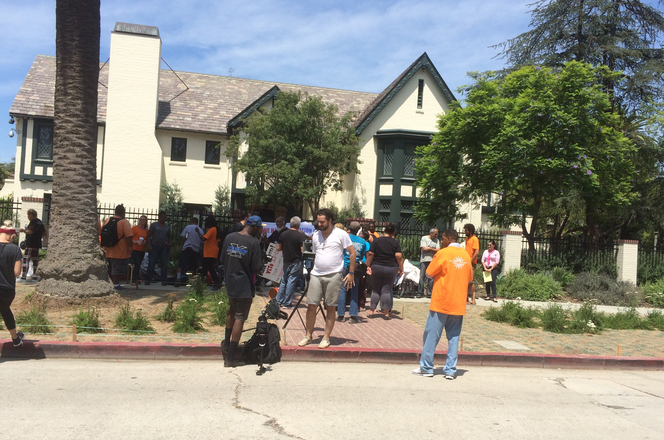 LA CAN held protests at the Mayor's Windsor Square home a few weeks ago in advance of the ordinances going into effect, which give authorities the ability to remove belongings from sidewalks or public parks.