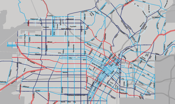 "Red lines show the most aggressive approach including lane designations for evening and morning commutes; purple shows streets such as Santa Monica Boulevard and Western and Vermont avenues that would have lanes reduced for bicycle lanes and curb extensions; dark blue (streets like Hillhurst Avenue, parts of 3rd Street and Cahuegna)  would have lanes reduced for bikes, bike ""share"" stations and a ""cycle track."""