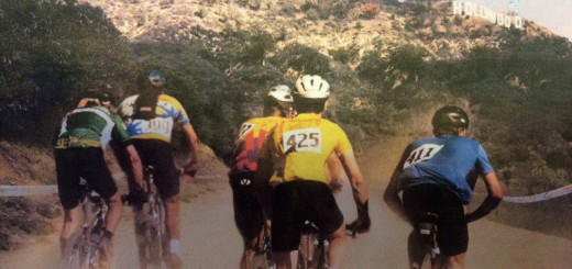 A photo from an early draft of the Los Angeles 2024 Olympic Bid Book, showing a mountain bike competition in Griffith Park.