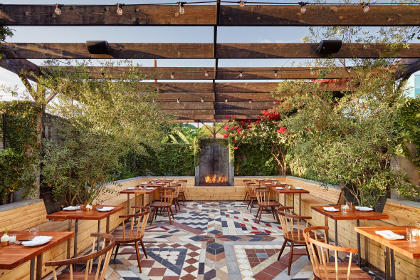 Sawyer's popular back patio is a pretty new addition to dining in Silver Lake. Photo credit: Ryan Tanaka