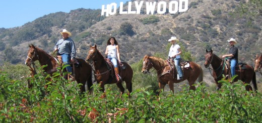 Horseback riders from Sunset Ranch on the trails in the shadow of the Hollywood Sign. Photo: sunsetranchhollywood.com