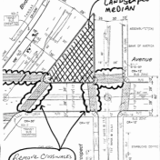 Proposed redesign would require the four crosswalks to the median be removed.