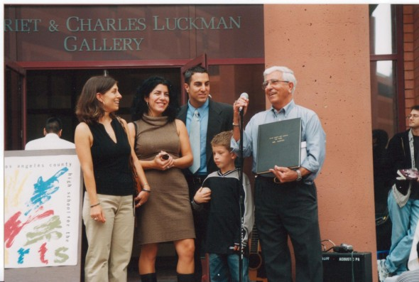 The Gatto family is pictured here about 10 years ago on the occasion of Joseph's retirement from teaching at Los Angeles County High School for the Arts. Left to right: Nicole, Mariann, Mike, Mariann's son Damien and Joseph. Source: Facebook.