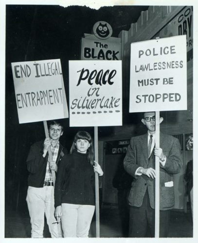 Protesters outside the Black Cat Tavern in 1967.