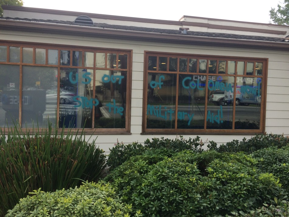 Chase bank's Los Feliz branch was vandalized last night.
