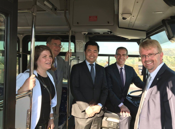 City officials, including Seleta Reynolds with the Dept. of Transportation, John Sasana, Chair of the Metro Board, City Councilmember David Ryu, Mayor Eric Garrett and Recreation and Parks General Manager Mike Shull this morning announcing the expanded bus service. Photo: Courtesy Council District 4