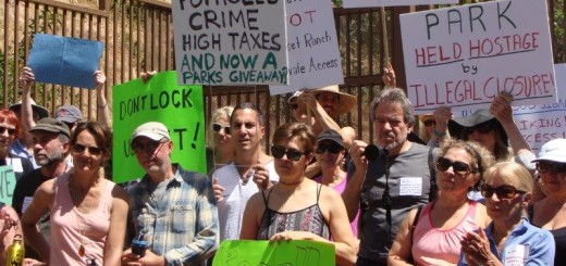 PROTEST—About 60 people gathered April 15 to protest in advance of the city's April 18th closure of a gate at the end of Beachwood Canyon Drive—per a court order—which had become a favorite access point to Griffith Park and the iconic Hollywood Sign. Some say they will continue to pressure the city to come up with another solution. Photo: Michael Aushenker.