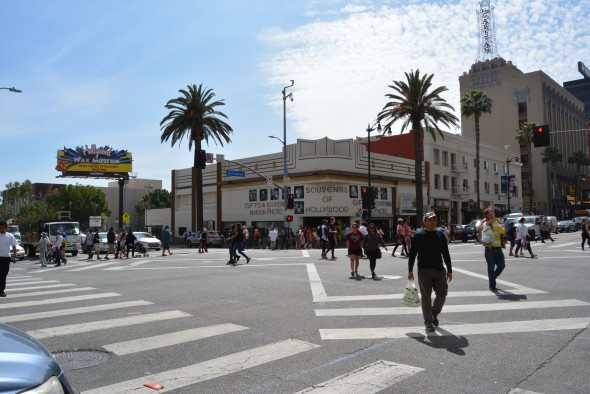 "The scramble crosswalk at Hollywood and Highland is an example of ""Vision Zero"" changes. A year before its 2015 installation there were 13 collisions at the intersection. A year later, only one fender bender. Photo: Shauna Watts."