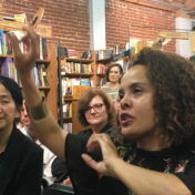 The author spoke to a standing room only crowd at Skylight Books about his new novel and keeping his day job.