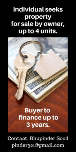 Real Estate buyer seeks property for Sale by Owner, up to 4